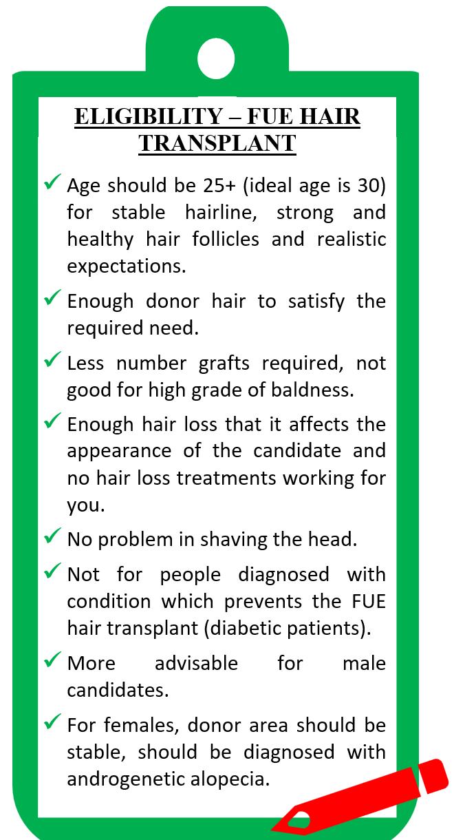 Eligibility criteria for FUE hair transplant